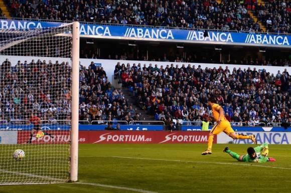 Luis Suárez en su cuarto gol. Foto: Getty Images