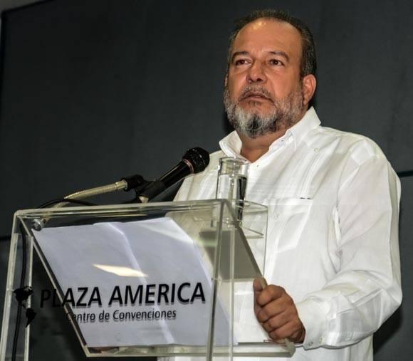 Manuel Marrero Cruz, Ministro de Turismo de Cuba durante su intervención en el acto de premiación del VIII Festival Internacional Varadero Gourmet . Foto: Abel padrón Padilla/ ACN.