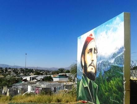 Mural de Fidel en escuela nambia