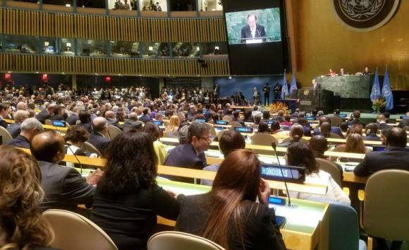 Ceremonia para la firma del Acuerdo de París. Foto: ONU.