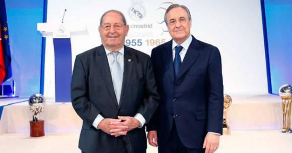 Florentino Pérez (izq.) anunció en diciembre que gento sustituiría al fallecido Alfredo Di Stéfano como Presidente de Honor del Real Madrid. Foto: realmadrid.com.