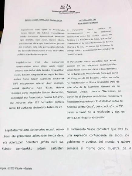 Parlamento vasco pide se levante bloqueo de EEUU contra Cuba