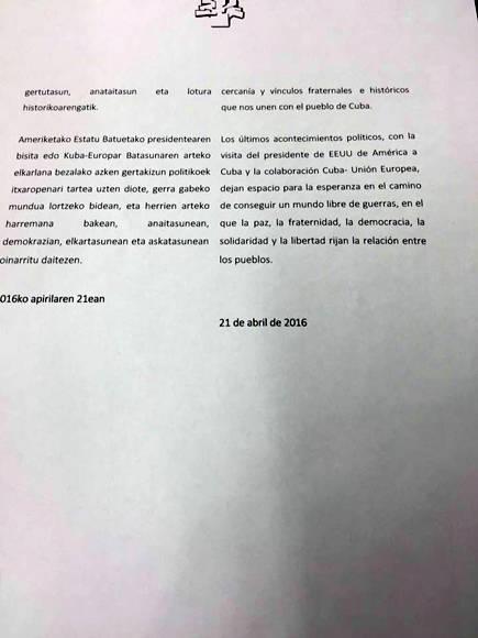 Parlamento vasco pide se levante bloqueo de EEUU contra Cuba1