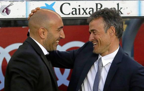 Saludo entre los dos manager, Abelardo y Luis Enrique. Foto: Francesc Adelantado/ Marca.