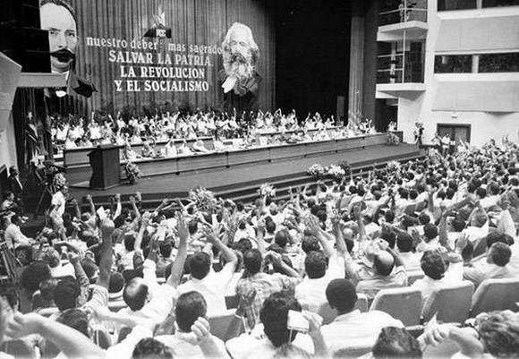 Vista de los delegados al IV Congreso del Partido, octubre 1991. Foto: Orlando Cardona.