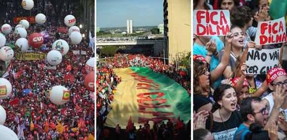 Aspectos de las movilizaciones en repudio al juicio de destitución impulsado en Brasil contra Dilma Roussef, quien califica de golpe institucional esta maniobra. Las imágenes, de izquierda a derecha, en las ciudades de Sao Paulo, Brasilia y Porto Alegre. Foto: Afp
