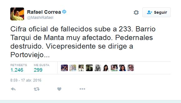 Mensaje publicado por el presidente Rafael Correa en su cuenta en Twitter. Foto: Cubadebate.