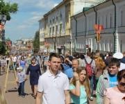 Boulevar del centro de la ciudad donde se habían concentrado miles de personas luego de la parada militar efectuada en esta ciudad.