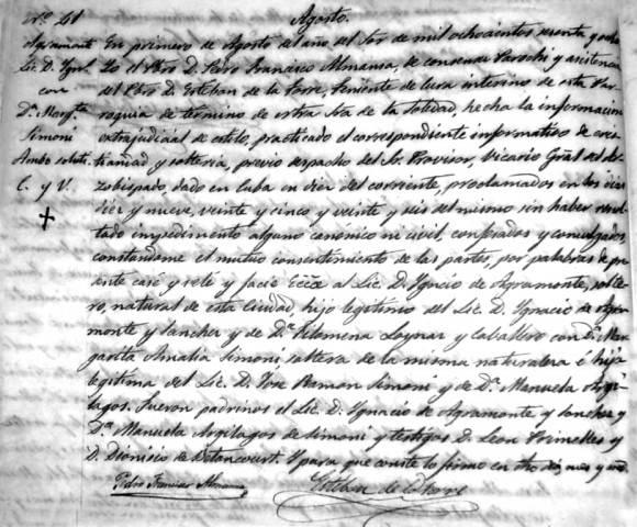 Acta matrimonial de Ignacio y Amalia. Archivo de la iglesia de Nuestra Señora de la Soledad