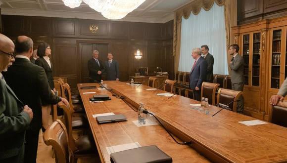 Miguel Díaz-Canel durante su encuentro con dirigentes de la Duma Rusa. Foto: Foto: Cuenta en Twitter de Rogelio Sierra, Viceministro del MINREX