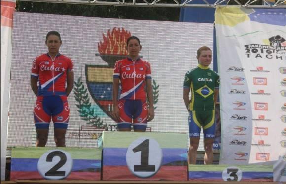 Iraida García Oro y Arlenis Sierra Plata, hicieron el 1-2 en el Panamericano de Ruta en Venezuela. Foto: Cuenta de Twitter del Gobierno de Táchira.