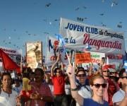Desfile por el Día Iternacional de los Trabajadores, en la ciudad de Holguín, Cuba, el 1 de mayo de 2016.  Foto: Juan Pablo Carreras / ACN