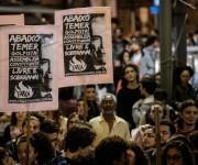 """Protestas en Brasil bajo el lema: """"Temer Nunca"""". Foto: Yasuyoshi Chiba/ AFP."""