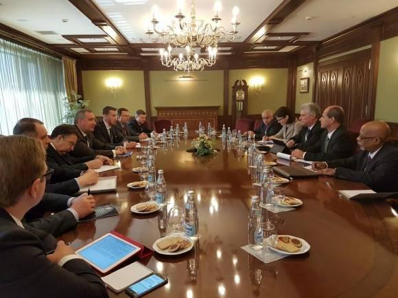 Ratifican Cuba y Rusia voluntad estrechar relaciones económicas durante reunión entre Díaz-Canel y Rogozin. Foto: Cuenta en Twitter de Rogelio Sierra, Viceministro de Relaciones Exteriores de Cuba