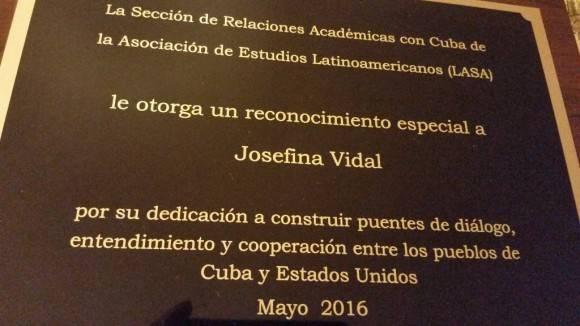 Cuban Diplomat Josefina Vidal Presented with LASA Award