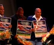 El podio de la Serie Nacional. De izq. a der. Víctor Mesa (3ro con MAT), Jorge Ricardo Gallardo (2do con PRI) y Roger Machado (1ro con CAV). Foto: Roberto Morejón/ Jit.