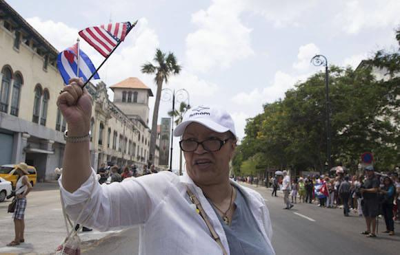"""""""Estoy feliz"""", """"wonderful"""", """"buenos días, Cuba"""", """"I'm very happy""""... Foto: Ismael Francisco/ Cubadebate"""