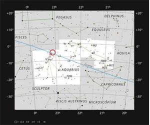 La estrella enana ultrafría TRAPPIST-1 en la constelación de Acuario.