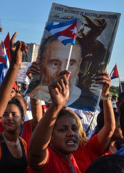 La imagen del líder de la Revolución cubana Fidel Castro, presente en el desfile por el Primero de Mayo, Día Internacional de los Trabajadores, en, La habana, Cuba, el 1 de mayo de 2016. ACN FOTO/Marcelino VÁZQUEZ HERNÁNDEZ/ ACN