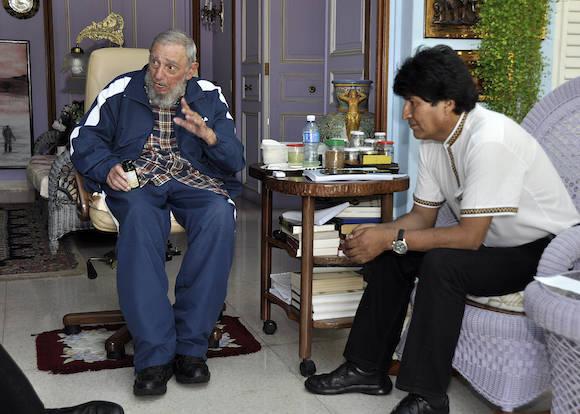 Fidel con Evo el pasado 13 de agosto de 2015. Foto: Estudios Revolución / Archivo de Cubadebate