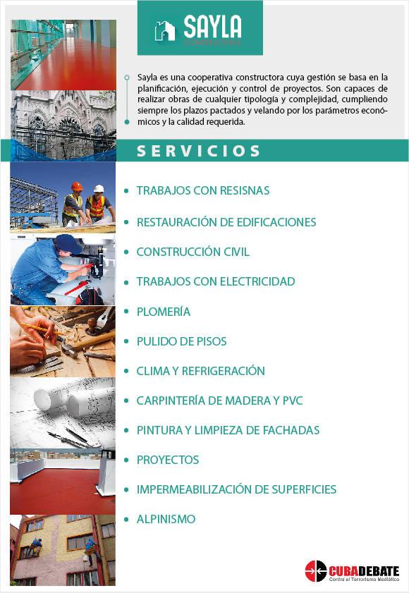 Algunos de los servicios que oferta la cooperativa de la construcción Sayla.