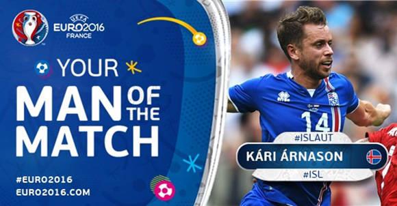 Arnason, el MVP del Islandia-Austria. Foto: UEFA.