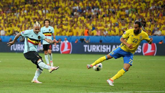 Nainggolan fue el goleador del encuentro Bélgica-Suecia. Foto: UEFA.
