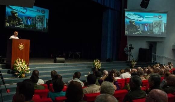 Intervención de José Ramón Machado Ventura, Vicepresidente del Consejo de Estado y Segundo Secretario del Comité Central del Partido, en el acto por el Aniversario 55 del Ministerio del Interior (MININT), en la Sala Universal de las FAR, en La Habana, el 6 de junio de 2016. Foto: Marcelino Vázquez/ACN