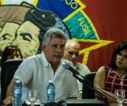 Intervención de Miguel Díaz-Canel Bermúdez (I), miembro del Buró Político del Comité Central del Partido Comunista de Cuba y Primer Vicepresidente de los Consejos de Estado y de Ministros, a su lado Yuniasky Crespo Baquero , Primera Secretaria de la Unión de Jóvenes Comunistas, durante el Tercer Pleno del Comité Nacional de la UJC, en el Centro de Convenciones de la CTC Lázaro Peña, en La Habana, el 10 de junio de 2016. ACN/ Marcelino Vázquez.