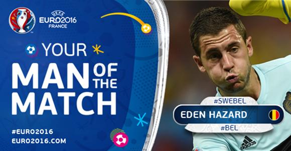 Eden Hazard elegido MVP contra Suecia. Foto: UEFA.