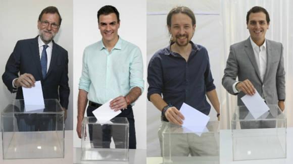Los líderes de los cuatros partidos con más votos. De izq. a der. Mariano Rajoy (PP), Pedro Sánchez (PSOE), Pablo Iglesias (UP) y Albert Rivera (C`s). Foto: Dany Caminal y Joan Cortadellas/ El Periódico.