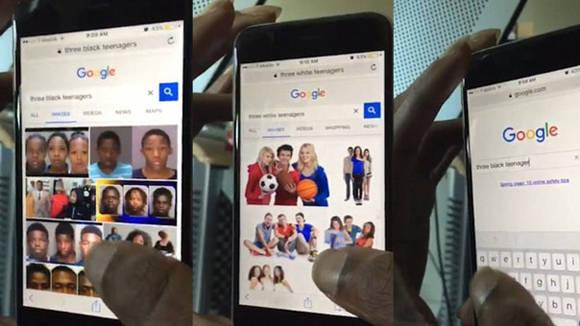 """""""Tres adolescentes negros"""" versus """"tres adolescentes blancos"""", fueron los términos de búsqueda. Fuente: Twitter: @iBeKabir"""