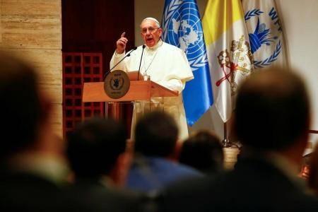 El Papa Francisco durante su discurso en Roma en una visita al Programa de Alimentos de la ONU, en Italia. Foto: Reuters/  Tony Gentile.