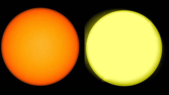 Imagen de la NASA que muestra como el amarillo característico del sol se ha degradado. Foto: NASA.