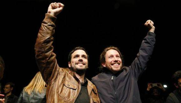 Líder de Unidos Podemos, Pablo Iglesias y Alberto Garzón. Foto: EFE.