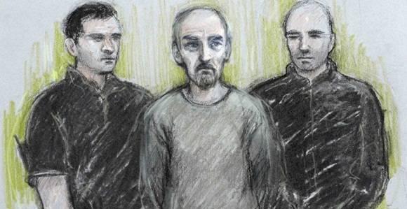 Retrato del dibujante judicial de Thomas Mair, el presupunto asesino de la diputada laboralista británica Elizabeth Cook, en su comparecencia ante el juez.  Foto: REUTERS