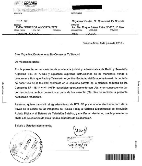 Carta suspensión de transmisiones de Rusia today en Argentina. Foto: Rusia Today.