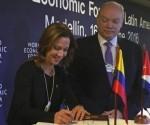 El acuedo fue firmado en el marco del Foro Económico Mundial (WEF) en América Latina, que concluye hoy en la ciudad de Medellín. Foto:  El Espectador.