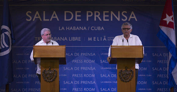 Conferencia de prensa de Manuel Aguilera y Alfonso Múnera. Foto: Ismael Francisco/ Cubadebate