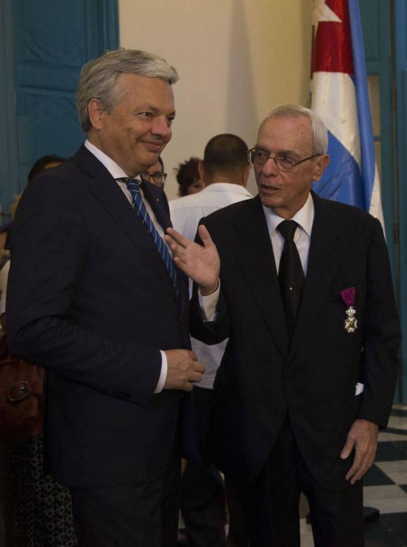 Eusebio Leal Spengler junto al viceprimer ministro y titular de Asuntos Exteriores de Bélgica, Didier Reynders. Foto: Ismael Francisco/Cubadebate.