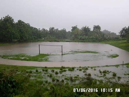 Estadio de béisbol de San Juan inundado. Foto: Tomada del sitio en Facebook de Francisco Valdés Alonso