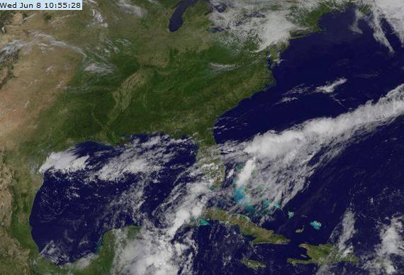 Imagen del satélite el miércoles 8 de junio a las 10:55 am.