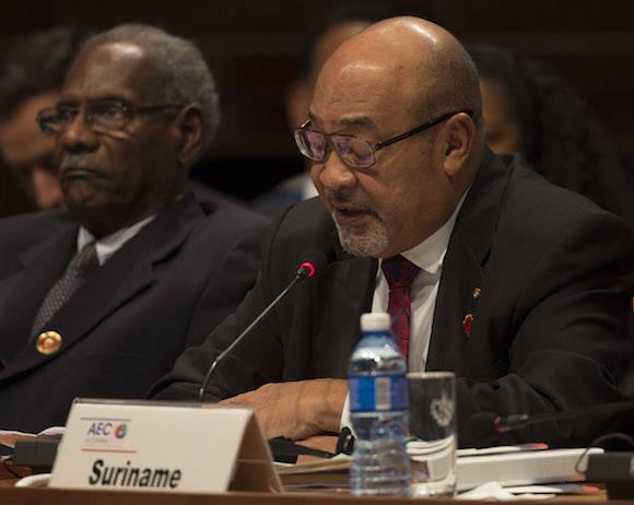 Deliré Bouterse interviene en la VII Cumbre de la Asociación de Estados del Caribe. Foto: Ismael Francisco/ Cubadebate