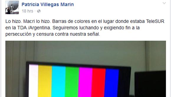 Mensaje publicado por la presidenta de TelesurTV, Patricia Villegas, en su cuenta en Facebook.