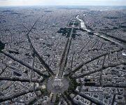 Vista aérea tomada durante el desfile. Foto: AFP.