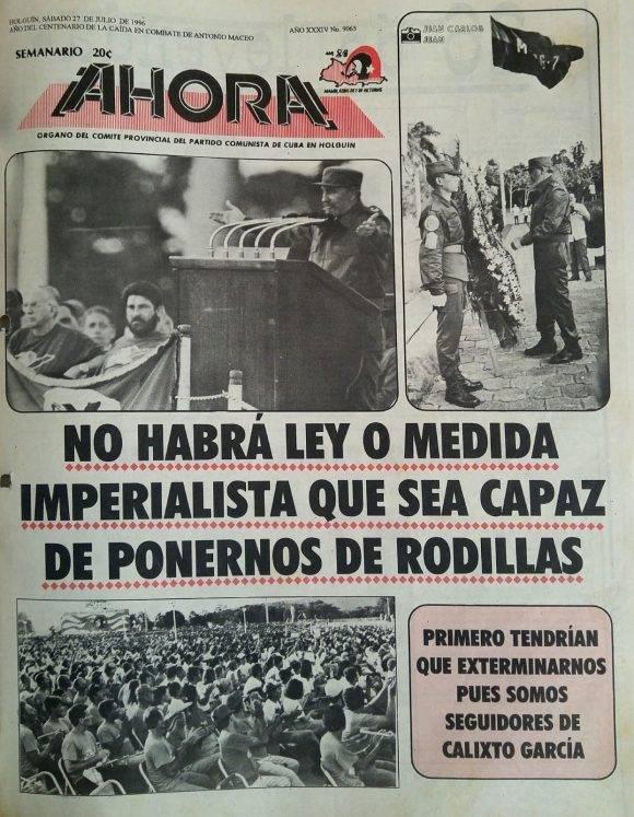 El Comandante en Jefe ocupa la portada del periódico Ahora. Foto tomada del blog Holguín Ahora.