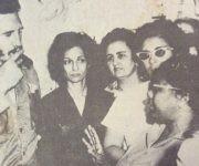 Fidel junto a las Ana Betancourt. En el grupo Elsa Gutiérrez, directora de la primera Escuela para campesinas. Foto: Cortesía de la entrevistada.
