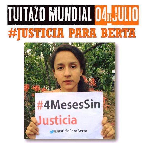 Desde diversos espacios de redes sociales, se exige justicia ante el caso de Bertha Cáceres, un crimen aún impune. Foto: Twitter.