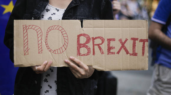 A woman holds a poster  during a protest opposing Britain's exit from the European Union in Berlin, Saturday, July 2, 2016. About 50 people staged a protest Saturday in front of Berlin's Brandenburg Gate against the recent British referendum to leave the European Union.  (AP Photo /Markus Schreiber)