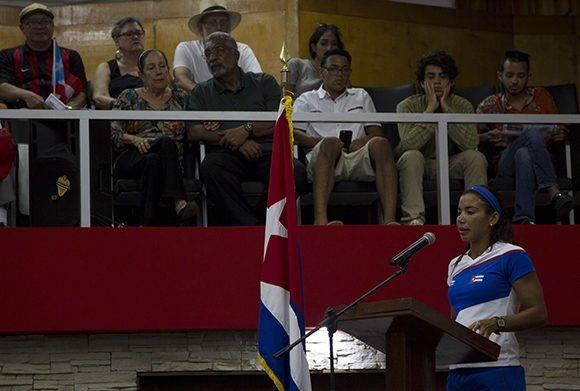 Intervención de la pentatleta Leidy Laura Moya. Foto: Ladyrene Pérez/ Cubadebate.